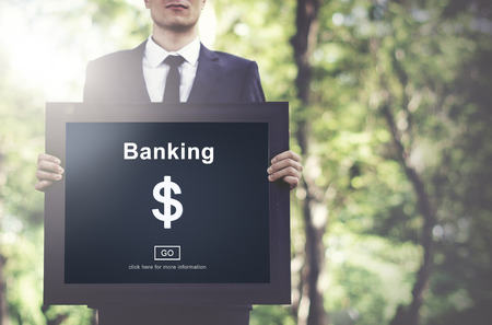 Businessman with banking concept Stockfoto