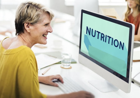 corporate women: Nutrition Nutrient Nutritional  Health Wellness Concept Stock Photo