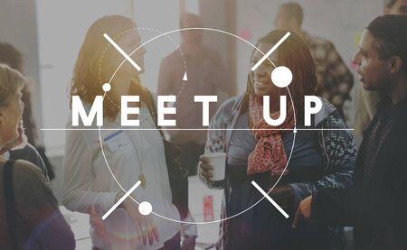 Meet Encounter Stumble Alight Gathering Concept Stock Photo