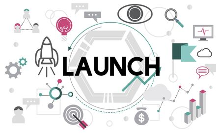 begin: Launch Begin Introduce Kick Off New Business Concept Stock Photo