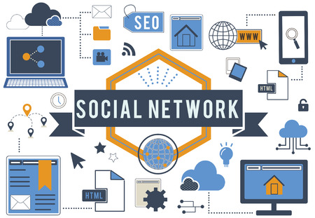Social network and internet concept