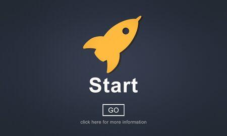 empezar: Comenzar iniciar la activaci�n de comenzar Primero Construir Delantero Concept Foto de archivo