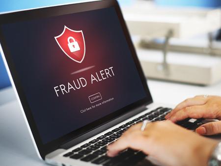 Alerte à la fraude Attention Défendez Guard Prévenez Protéger Concept Banque d'images