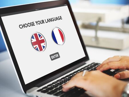 faction: Language Dictionary English French Concept Stock Photo