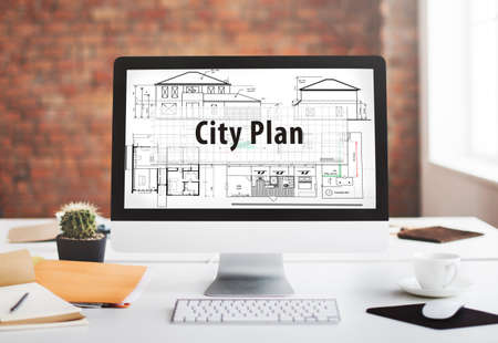 notebook computer: City Plan Architecture Engineering Planning Concept Stock Photo