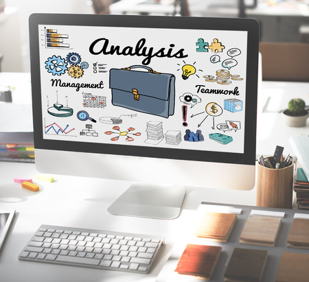 Business analysis concept on computer screen