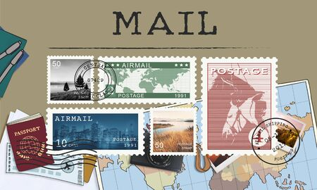 postage: Postal Postage Mail Package Stamp Concept Stock Photo