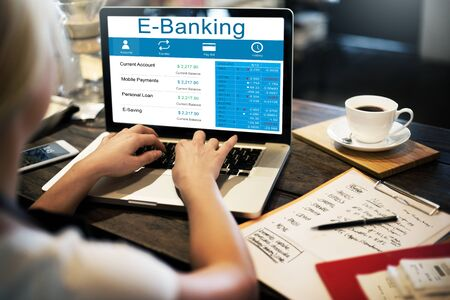 paying: E-Banking Computer Electronic Paying Payment Concept Stock Photo