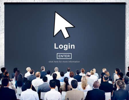 log in: Log In Profile Enter Arrow Icon Concept Stock Photo