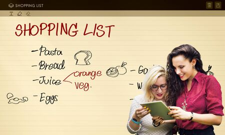 shopping list: Shopping List Notes Groceries Refrigerated Concept