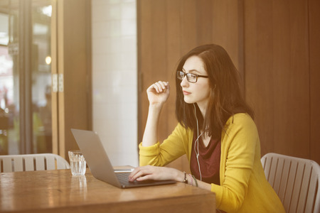 adult's: Woman Laptop Browsing Searching Social Networking Technology Concept Stock Photo