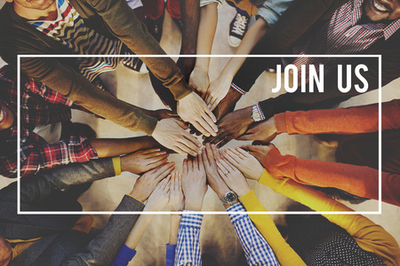 circle of friends: Join us Joining Membership Recruitment Hiring Concept
