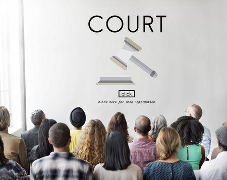 orden judicial: Court Authority Crime Judge Law Legal Order Concept Foto de archivo