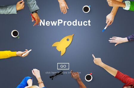 new start: New Product Launch Marketing Commercial Innovation Concept Stock Photo