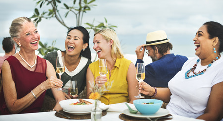 senior eating: Diverse Neighbors Drinking Party Yard Concept