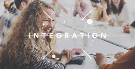 merge: Integration Merge Combination Consolidation Concept Stock Photo