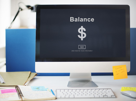 Dollar currency symbol with the word Balance on a monitor screen