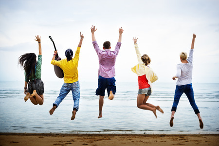 youth culture: Teenagers Friends Beach Party Happiness Concept Stock Photo