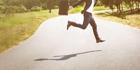 businessman running: Businessman Running Jumping Aspirations Environment Concept