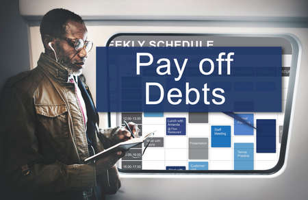 pay off: Pay Off Debts Loan Money Bankruptcy Bill Credit Concept Stock Photo