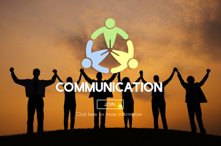 comunicarse: Comunicaci�n Comunicar Concepto de conversaci�n de Connection Foto de archivo