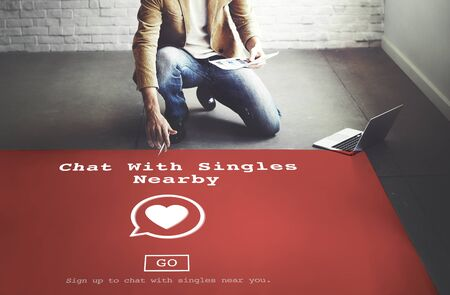 dating strategy: Chat with SIngles Nearby Love Romance Online Concept
