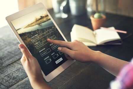 Tablet Searching Flight Travel Booking Concept Stock Photo