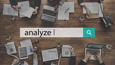 analyze: Analyze Plan Process Strategize Statistics Concept Stock Photo