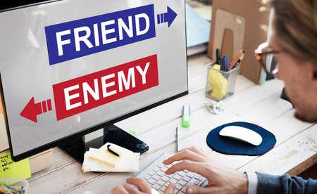 conflictos sociales: Amigo Enemigo adversario Frente dilema concepto de elección