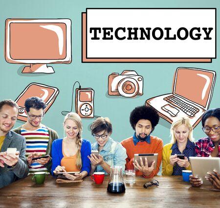 net meeting: Technology Data Digital Internet Innovation Tech Concept Stock Photo