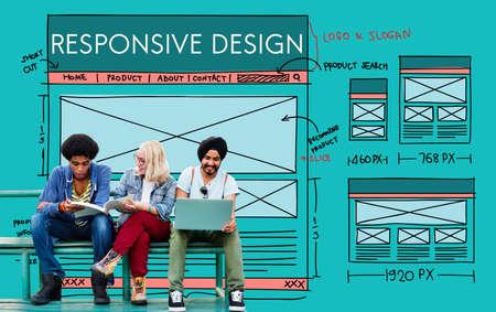 responsive: Responsive Design Layout Content Concept Stock Photo