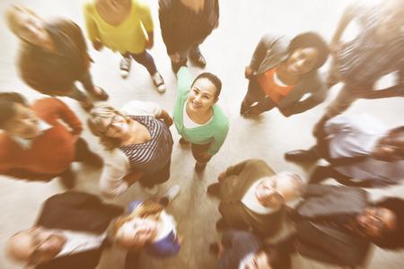 Diverse mensen Saamhorigheid Vriendschap Geluk Luchtfoto Concept Stockfoto