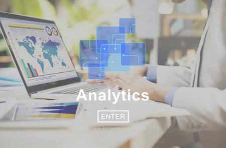 Analytics Data Analysis Information Internet Concept Archivio Fotografico