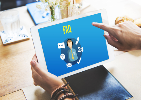 enquiry: FAQ Enquiry Questions Guide Customer Support Concept Stock Photo