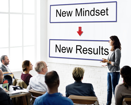 Presentation with mindset and results concept Stock Photo
