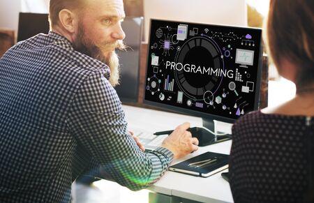 Programming Digital Computer Program Media Software Concept Stock Photo