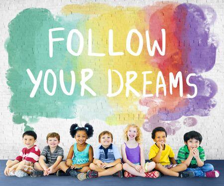 inspire: Desire Inspire Goals Follow Your Dreams Concept Stock Photo