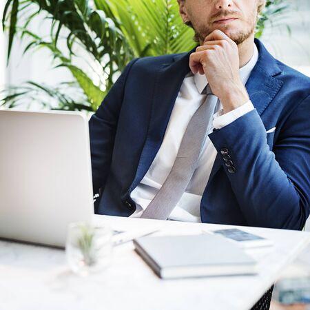 businessman thinking: Businessman Working Thinking Business Concept Stock Photo