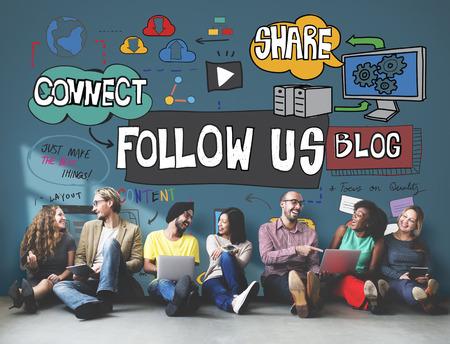 우리를 따라하십시오 소셜 미디어 연결 추종자 개념