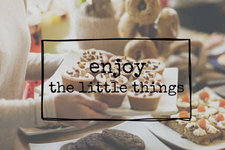 Enjoy The Little Things Enjoyment Happiness Joy Concept Stock fotó