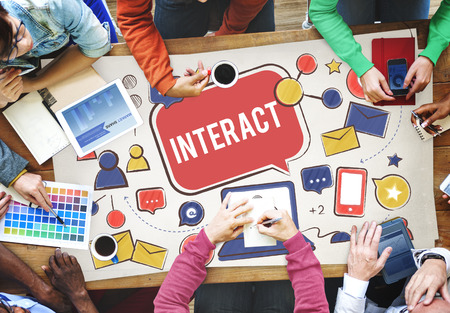 interact: Interact Communicate Connect Social Media Social Networking Concept Stock Photo