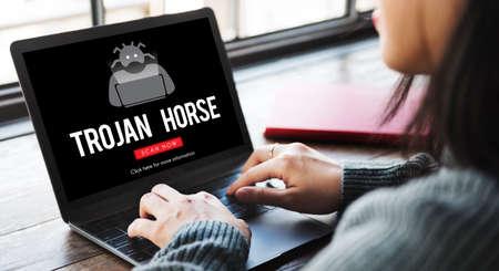 web scam: Scam Virus Spyware Malware Antivirus Concept Stock Photo