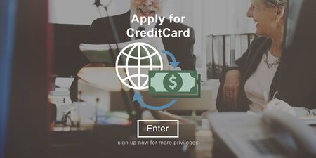 credit card business woman: Apply Credit Card Financial Graphics Concept