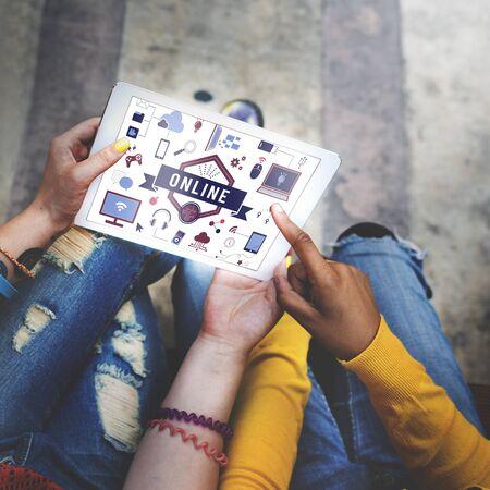 socialize: Online Devices Share Socialize Computer Concept