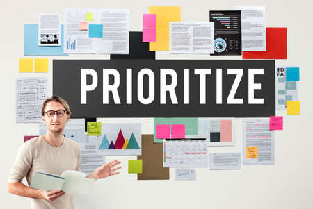 prioritize: Prioritize Efficiency Expedite Importance Issues Concept Stock Photo