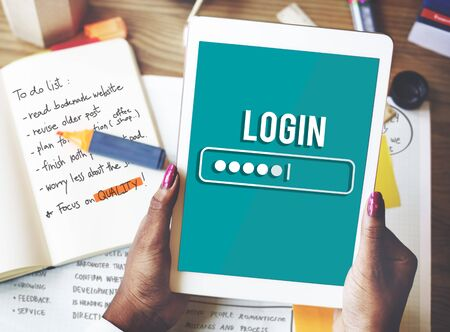 password security: Log In Interface Password Security Concept Stock Photo