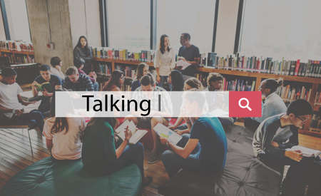 discuss: Talking Discuss Conversation Interactive Communication Concept Stock Photo