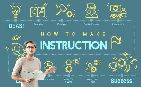 instruction: Instruction Document Guidebook Handbook Help Concept Stock Photo