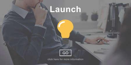 begin: Launch Start Begin Light Bulb Icon Concept