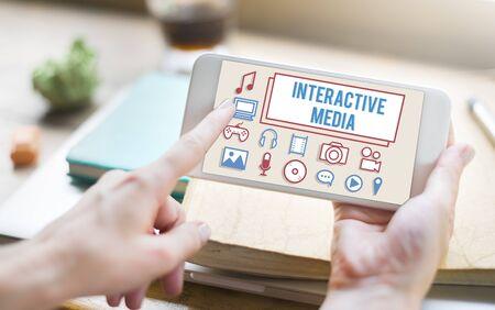 media gadget: Interactive Media Gadget Electronics Technology Concept